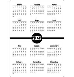 Vertical simple pocket calendar on 2022 year vector