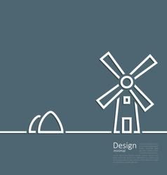 Village landscape windmill haystack design minimal vector