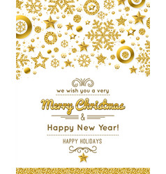 white christmas card with golden glittering vector image
