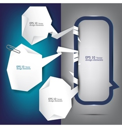 White paper bubbles with clip for speech vector image