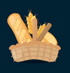wicker basket with fresh bread wheat vector image