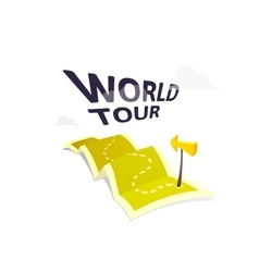 World tour concept logo isolated on white vector image
