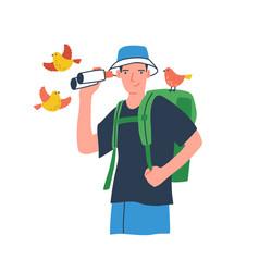 young birdwatcher at ecotour traveler vector image