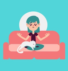 Zen Girl Meditating on Sofa with Cat vector