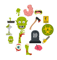 zombie icons set in flat style vector image