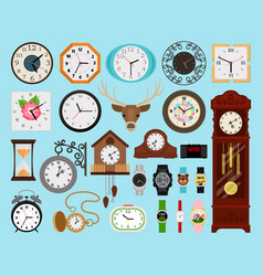 clocks icons collection vector image