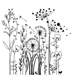 flowers and grass on white collection rustic vector image vector image