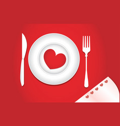 heart on a plate for dinner a romantic evening vector image