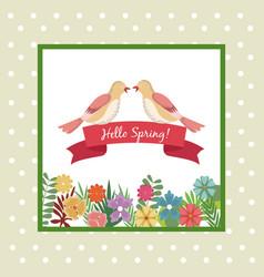 Hello spring greeting card couple bird ribbon vector