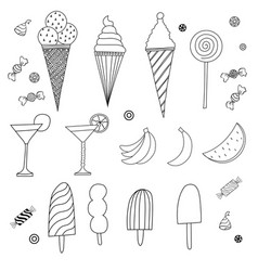 Set of caroon candies ice-cream and fruits vector