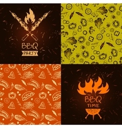 Set of lettering hand drawn logo with fire vector