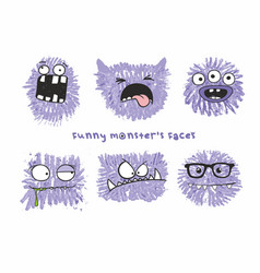 set of six funny crazy monsters vector image