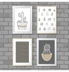 Art painting with Cactus in frame Abstract vector image vector image