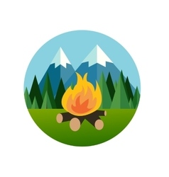 camp fire in forest mountain flat icon pine tree vector image vector image