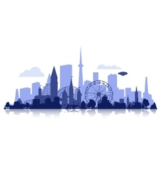 city silhouette with rollercoaster vector image