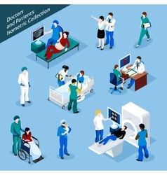 Doctor And Patient Isometric People Icon Set vector image
