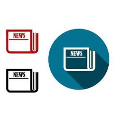 Flat round news icon vector image