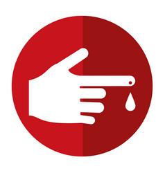 Hand blood drop symbol shadow vector