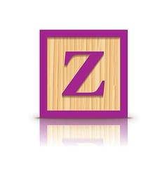 Letter z wooden alphabet block vector