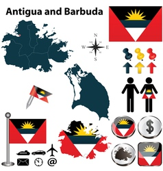 Map of Antigua and Barbuda vector image vector image