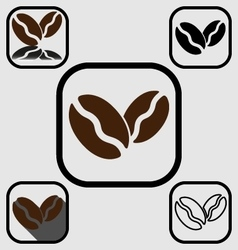 Coffee bean icons set vector image