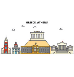 greece athens city skyline architecture vector image