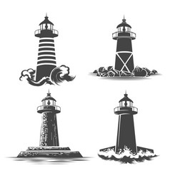 lighthouse emblem set vector image vector image