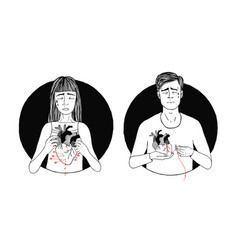 sad and suffering man and woman loss of love vector image