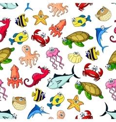 Sea ocean animals fish seamless cartoon pattern vector image
