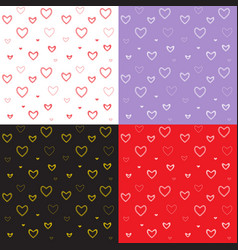 seamless pattern with mosaic valentines hearts vector image