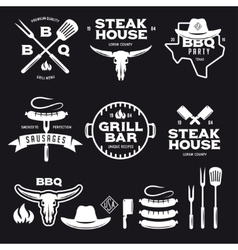 Set of barbecue steak house grill bar labels vector image