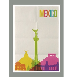 Travel Mexico landmarks skyline vintage poster vector image vector image