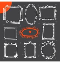 Vintage photo frames Set of hand drawn design vector image