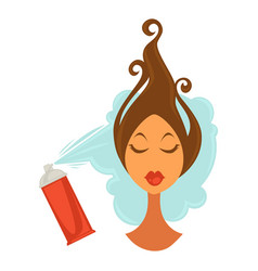 woman applying hair spray vector image vector image