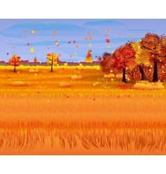 Autumn nature landscape with forest and field vector image