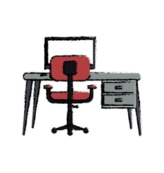 cartoon workplace modern pc pink armchair desk vector image