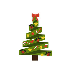 christmas tree made of ribbons vector image