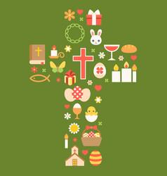 easter symbolic arrange as cross vector image