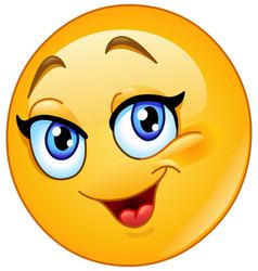happy female emoticon vector image vector image