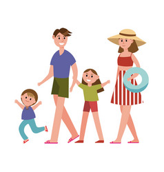 Happy parents with kids on summer vacations vector