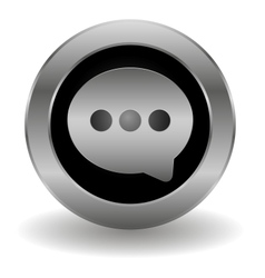Metallic speech button vector image vector image