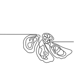 oysters with lemone continuous line drawing vector image vector image