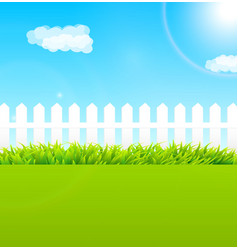 Summer garden scene with wooden fence and blue sky vector image