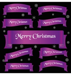 violet shiny color merry christmas slogan curved vector image vector image