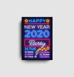 2020 happy new year party poster neon 2020 vector image