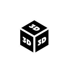 3d print cube flat icon vector