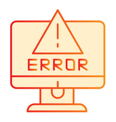 Alert on computer flat icon computer error orange vector