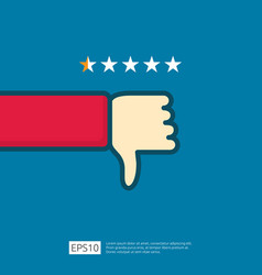 Bad 1 star review concept dislike symbol on phone vector