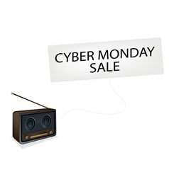 Beautiful Old Radio Playing Cyber Monday Song vector
