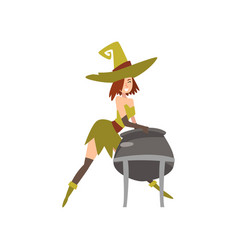 beautiful witch with cauldron of potion charming vector image